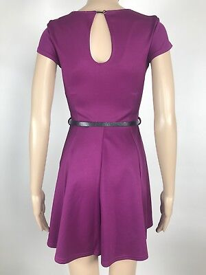 Coral Pink Size 10 Club L 3//4 Sleeve Skater Dress with Belt
