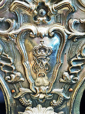 Unique! A Pair of XIX C. Heraldic Silver Wall Sconces of Amadeo I, King of Spain 4