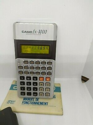 VERY RARE 1977 Vintage CASIO fx-1000 Yellow LCD Scientific Calculator w/ manual 2