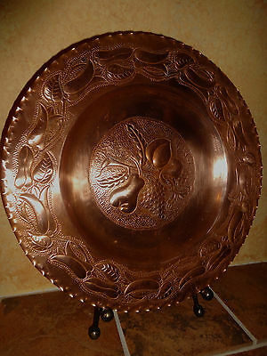 Vtg Solid Heavy Copper  Plate Ornate Great Fruit Flowers Unique Nice 8