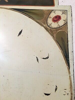 Beautiful Antique Grandfather Clock Dial Hand Painted Lady Of Justice W/ Lion 6