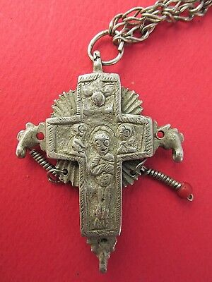 Ancient Byzantine Medieval Cross Crucifix silver alloy, pendant 8