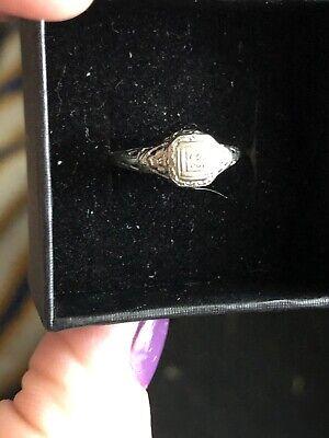 Beautiful 18k White Gold Victorian Style Diamond Wedding Ring - SZ 5.5 2