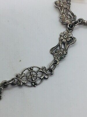 Antique Victorian Sterling Silver Floral Ornate Charm Chain Necklace 2