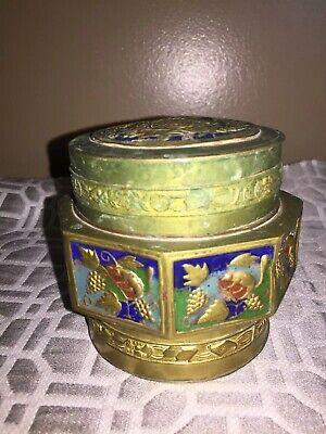 Antique Asian Brass Enameled Lidded Canister Jar 4