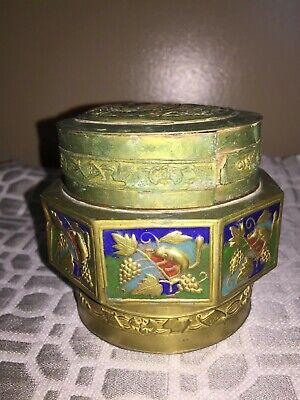Antique Asian Brass Enameled Lidded Canister Jar 5