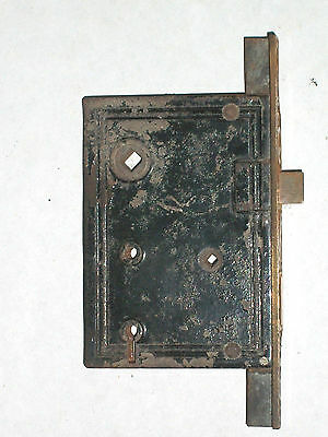 Antique Victorian Eastlake Entry Thumb Turn Door Lock BY    R.H.Co. 4