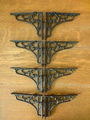 "8 MEDIUM BROWN ANTIQUE STYLE 6.5"" SHELF BRACKETS CAST IRON rustic garden SCROLL 2"