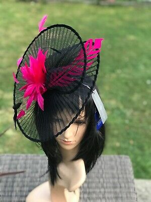 Suzanne Bettley Black And Red Wedding  Hat Disc Fascinator Occasion Formal 11