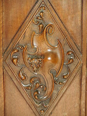 Fabulous lot of 2 French Antique Carved Oak Wood Door Panel, Gothic pattern 2