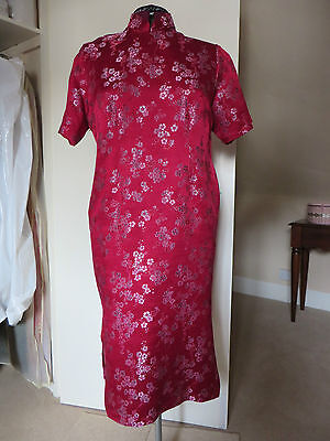 HALF PRICE!!  SILK BROCADE Traditional Oriental Chinese Cheong Sum Dress - L 10