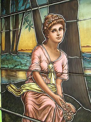 10.5' Monumental Jeweled Antique Stained Glass Portrait Window  Ny Estate # 1 8