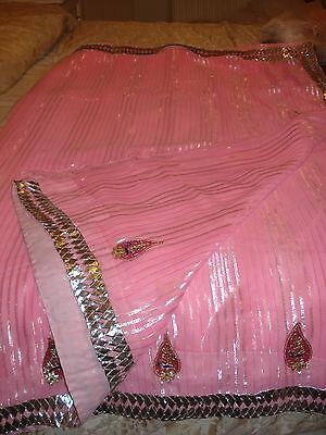 Ladies / Girls Pink Chiffon Saree With Silver Stripes & Zari Border 6