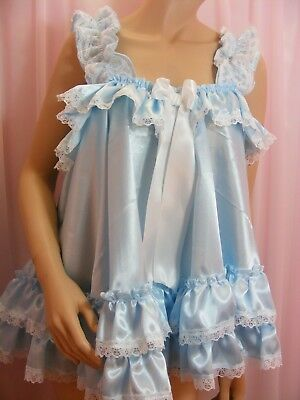 ADULT baby sissy blue satin babydoll negligee nightie dress fancydress unisex 8