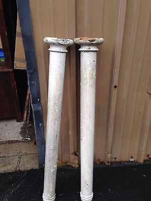 One Pair Oak Antique Columns Painted Cm 44 4
