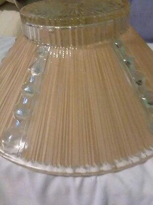 Vtg Deco Era Semi Flush Glass Shade Chandelier 1930s PEACH/CLEAR RIBBED MOTIF 11 4
