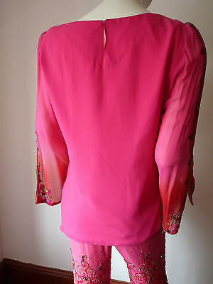 Asian Wedding Cerise Pink & Red Trouser Suit With Scarf   M   Ret £350   Bnwt 4