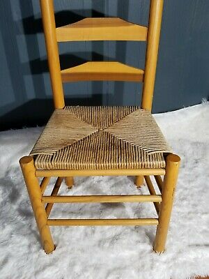 Antique Shaker Style Ladder Back Accent Chair Woven Seat (2 available) 11