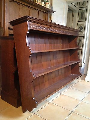 A Pair of Solid Oak Bookcases / Dressers Lunette Carved Cornice Maker Stamp 2