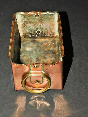 Small Arts & Crafts Hammered & Riveted Copper Trough With Brass Ring Handles 2