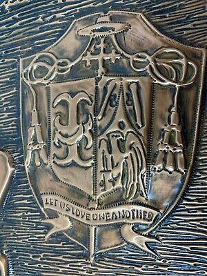 Vintage Trenton de Obispo John C. Reiss Hecho a Mano Cobre Tallado Pared Art 7