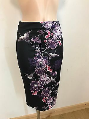 WHITE BLACK FLORAL MIDI SMART PENCIL WIGGLE CAUSAL SKIRT  SIZE 8-18