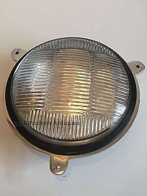 Industrial Bulkhead Light Wall Ceiling Silver Marine Aluminium Round Nautical 11