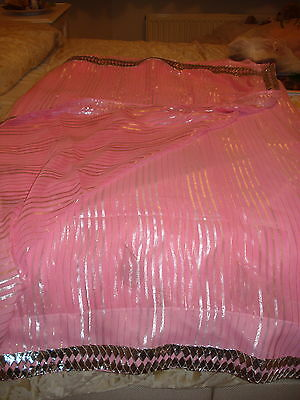 Ladies / Girls Pink Chiffon Saree With Silver Stripes & Zari Border 7