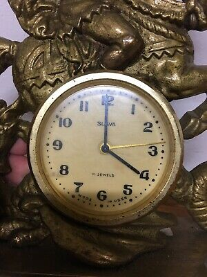 USSR SLAVA 11 Jewel Gilt Knight Sleighing Dragon Clock Rococo Decor Design 3