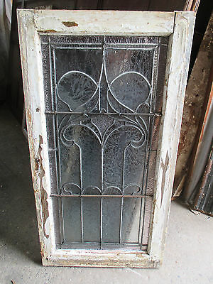 ~ ANTIQUE AMERICAN STAINED GLASS WINDOW ~ 22.75 x 43 ~ ARCHITECTURAL SALVAGE ~ 10