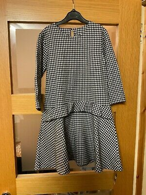 Girls Dogtooth Black & White Dress 9 Years  BNWT 2