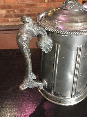 Antique 1858 Meriden Britannia Victorian Silverplated Double Wall Pitcher 3