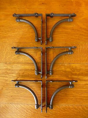 "6 BROWN ANTIQUE-STYLE 5.5"" SHELF BRACKETS CAST IRON rustic garden CURVED ARCH 3"