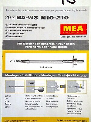Mea Blitzanker BA M M10 x 75//5 mm Schwerlastanker Schwerlastdübel Keilanker
