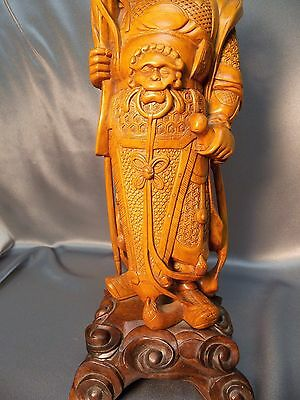 Very Fine Hardwood Detailed Old Chinese Carved Warrior Figurine Statue 11