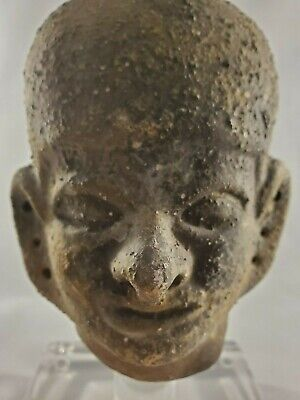 Amazing Archaic Style Bust Pottery on Clear acrylic display base -Mesoamercian? 9