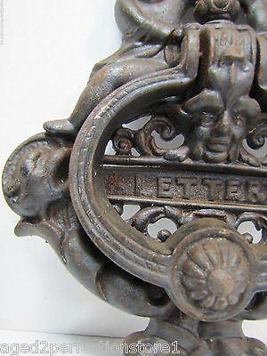 Vintage Cast Iron Figural Door Knocker Letters Mail Slot lrg ornate art nouveau 4