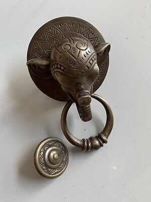 """heavy ELEPHANT trunk front Door Knocker SOLID  BRASS old style house nice 6"""" B 4"""