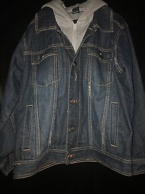 Boys Calvin Klein Jean Jacket Hoodie Size M Used With Stain/damage On Grey Hood 2