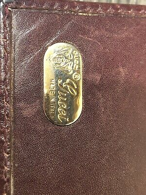 GUCCI Vintage Gold GG Logo Agenda Day Planner Binder Cover Leather Italy 6