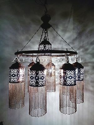BR372 Antique Style Handmade Brass Ring 9 Down Light Large Moroccan Chandelier 2