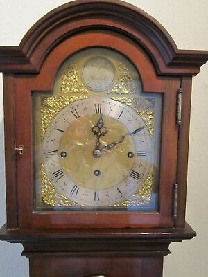 Edwardian period three train weight driven 1/4 striking grandmother clock. 4