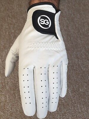 SG PACK OF 5 Men white Cabretta Leather Golf gloves Right & Left hand available 3