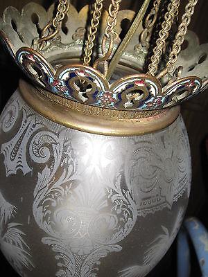 Antique Ceiling Light Fixture, Bronze,Champleve,Orginal Etched Glass Shade 8