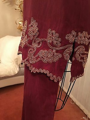 Ladies Beautiful 3 Piece Indian Red Gold Bollywood Shalwar Kameez Suit Size 10 5