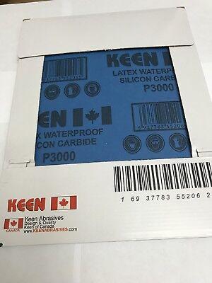"""Box of 50- 3000 Grit FRANCE LATEX Flexible WET DRY Sandpaper 9""""X11""""  KEEN 52062"""