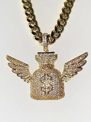 Men/'s 14k Gold Filled Stamp Miami Cubn Link Chain Money Bag Pendant Warranty