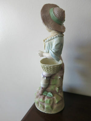 "Antique German  Hand Painted Bisque Rudolstadt Rustic Romantic Figurine 13"" Tall 5"