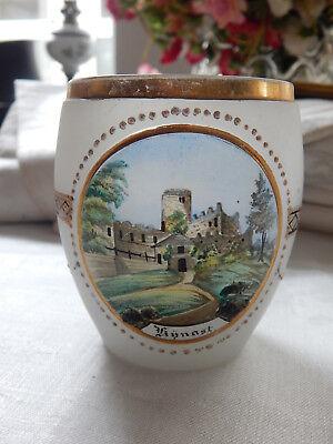 Schönes Andenkenglas * Burg Kynast * Böhmen * Bemalt * Email * Milchglas * 2