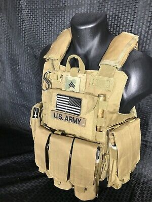 Tactical Vest COYOTE Tan Plate Carrier BODY ARMOR Military Matches Multicam 4